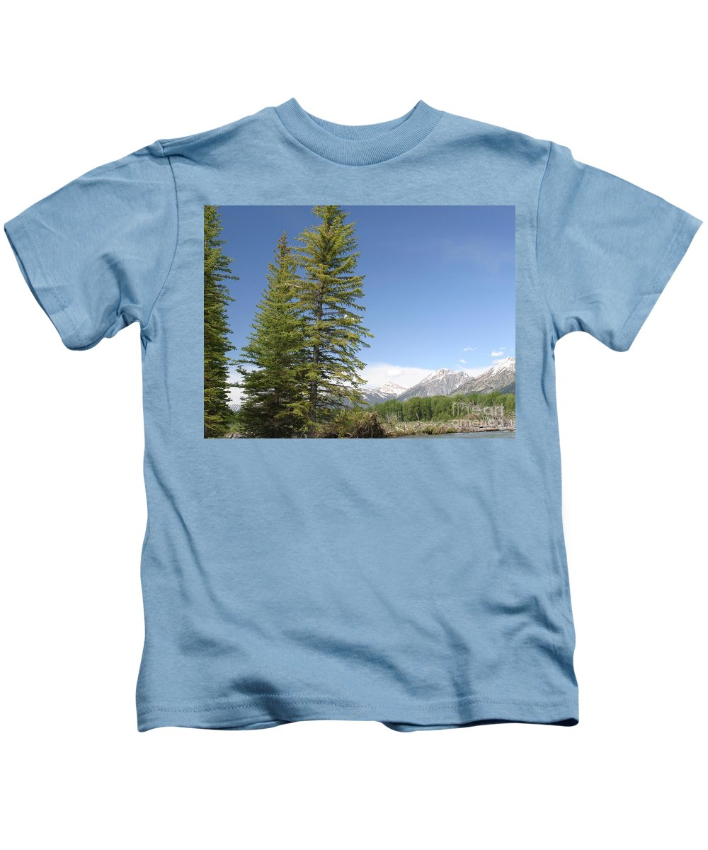 Grand Tetons Kids T-Shirt featuring the photograph America The Beautiful by Living Color Photography Lorraine Lynch