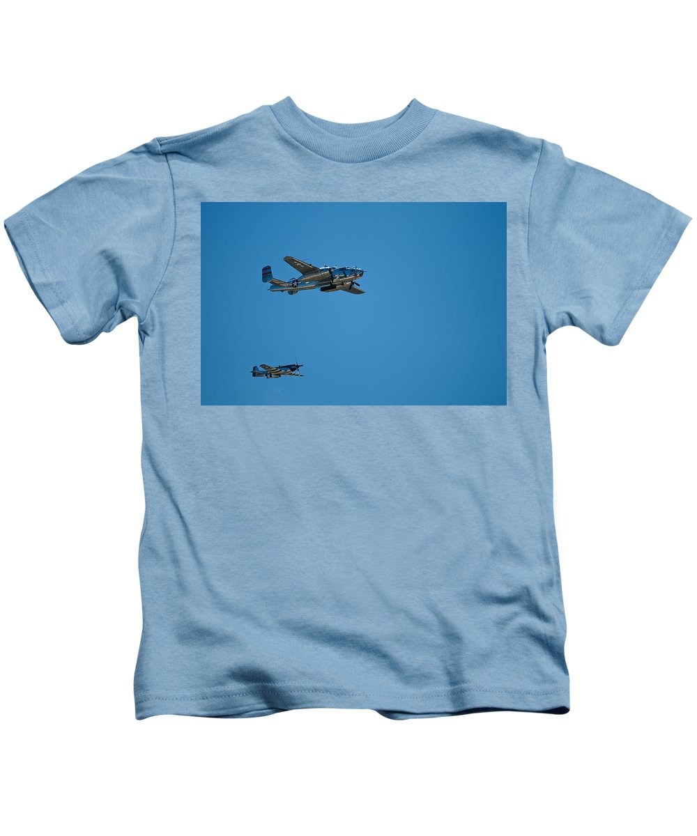 b25 Mitchell Bomber With Corsair Mustang Fighter Escort Kids T-Shirt featuring the photograph B25 Mitchell Bomber With Corsair Mustang Fighter Escort by Paul Mangold