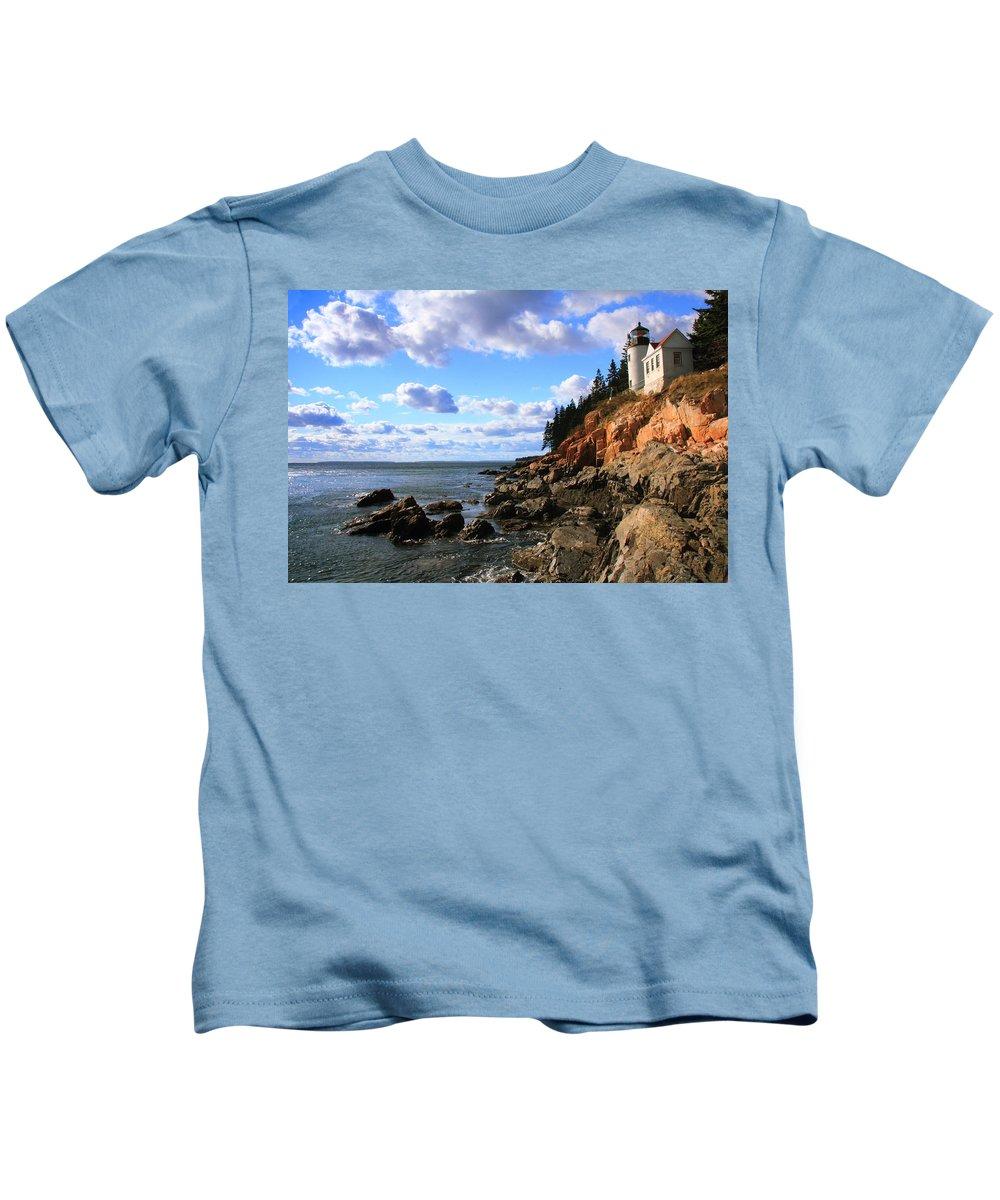 Bass Harbor Head Kids T-Shirt featuring the photograph Bass Harbor Head Seascape by Roupen Baker