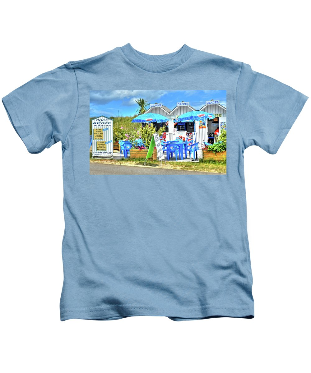 Beach Food Shack Kids T-Shirt featuring the photograph Beach Food Shack France by Dave Mills
