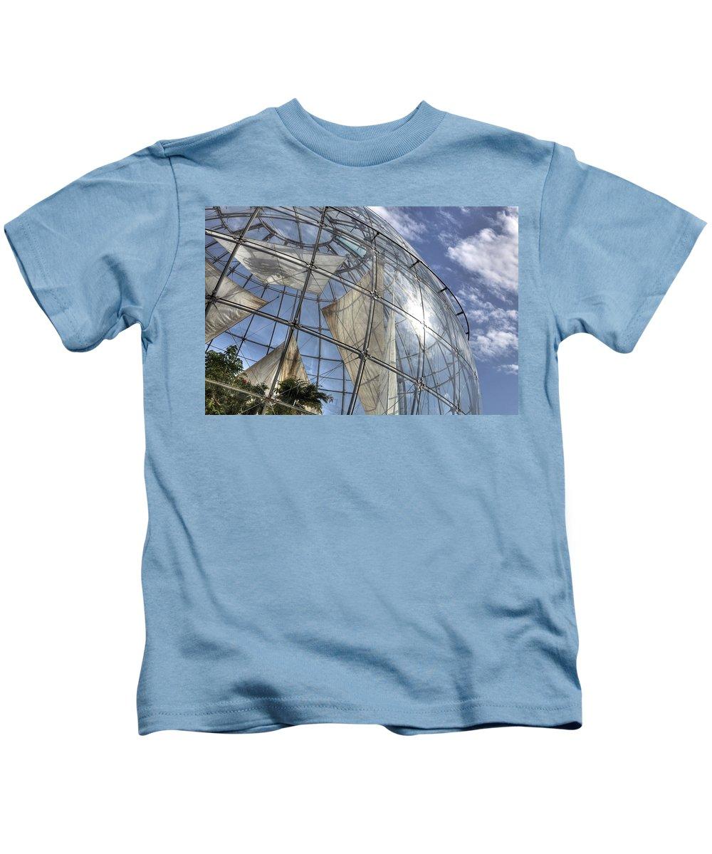Biosphere Kids T-Shirt featuring the photograph biosfera in Genoa by Joana Kruse