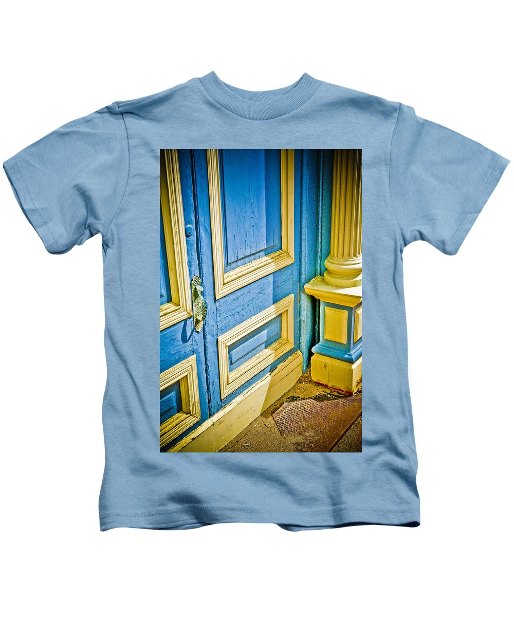 Colorado Kids T-Shirt featuring the photograph Blue And Yellow Door by Marilyn Hunt
