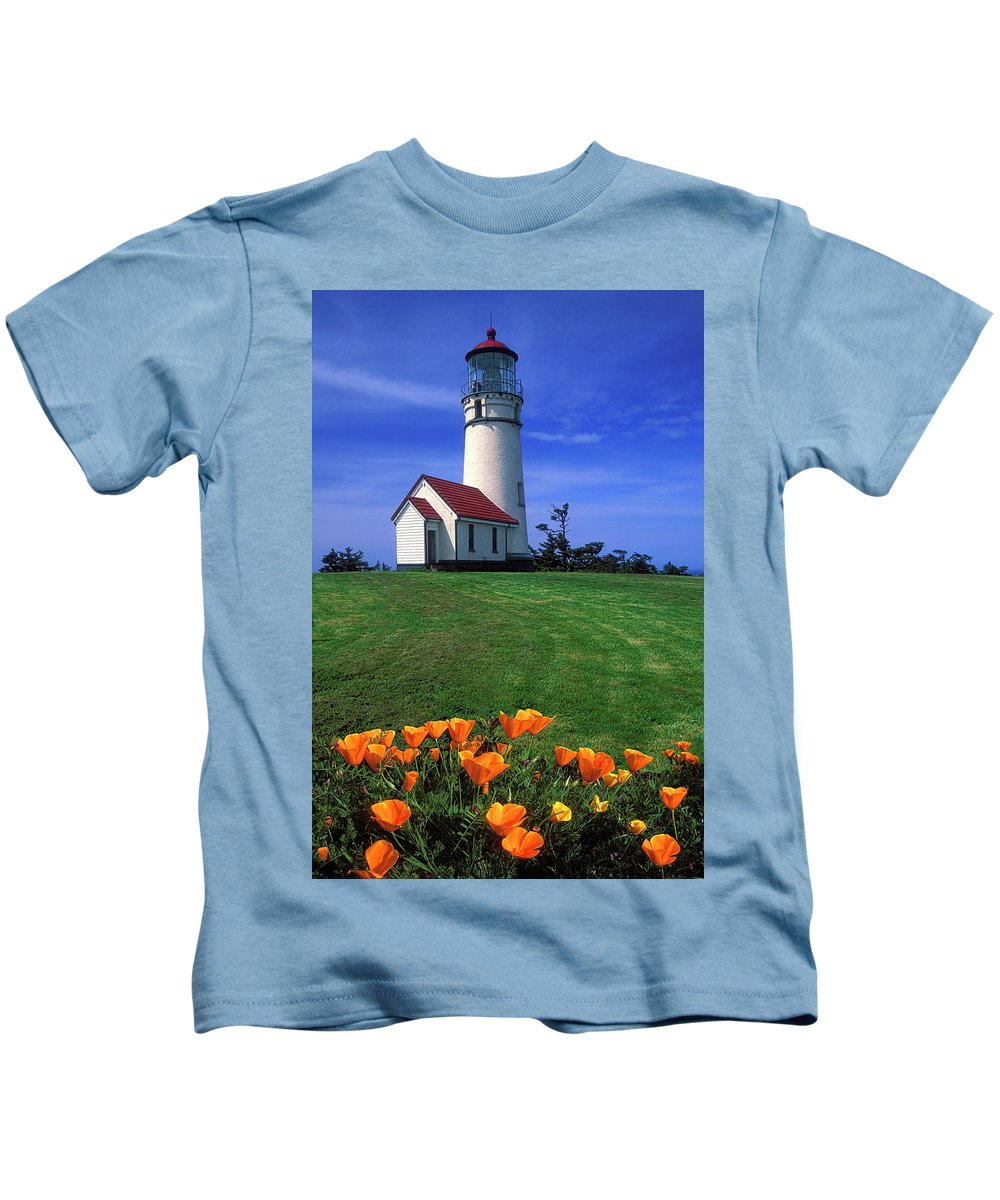 Cape Blanco Lighthouse Kids T-Shirt featuring the photograph Cape Blanco Lighthouse Oregon by Dave Mills