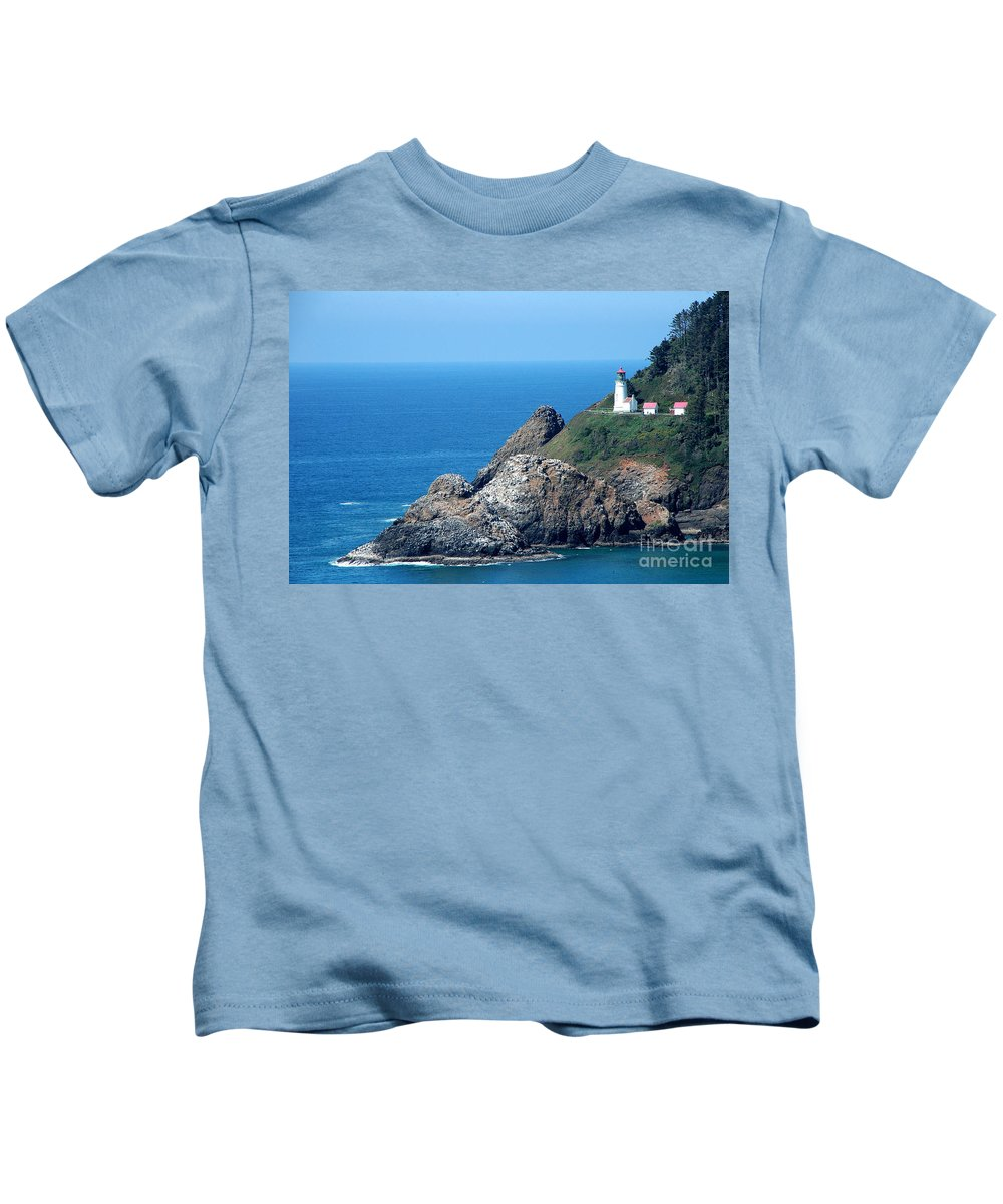 Cape Mears Kids T-Shirt featuring the photograph Cape Mears Lighthouse by Mike Nellums