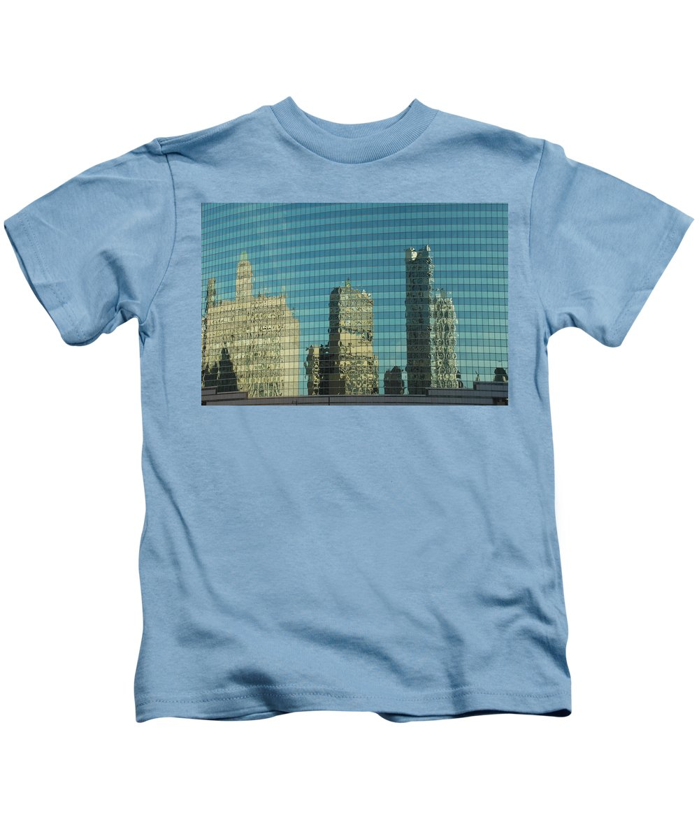 Chicago Kids T-Shirt featuring the photograph Chicago Window Reflections by Richard Bryce and Family