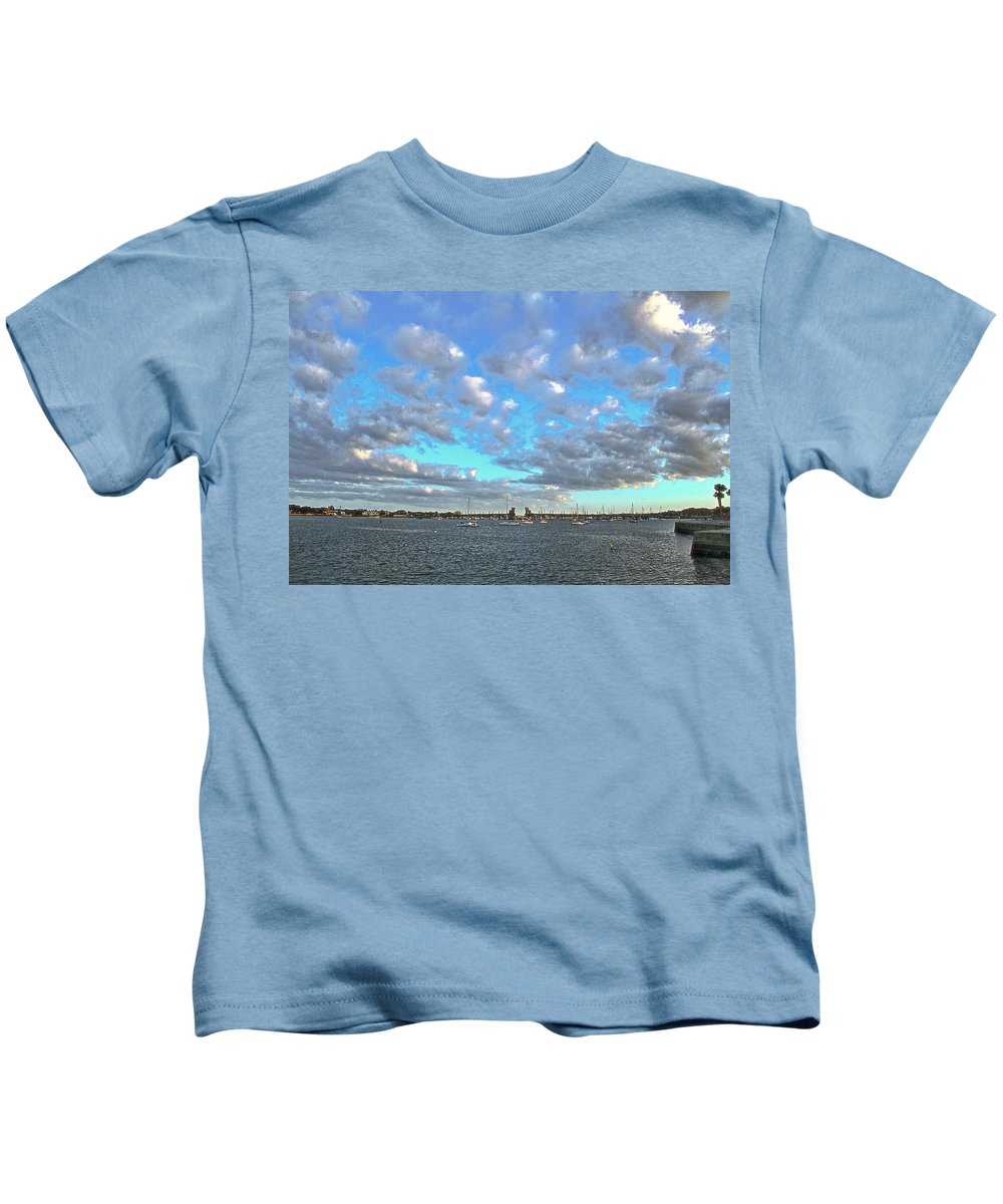 Clouds Old Fort St Augustine Florida Boats Water Intracoastal Waterway Kids T-Shirt featuring the photograph Cloud View From The Old Fort by Alice Gipson