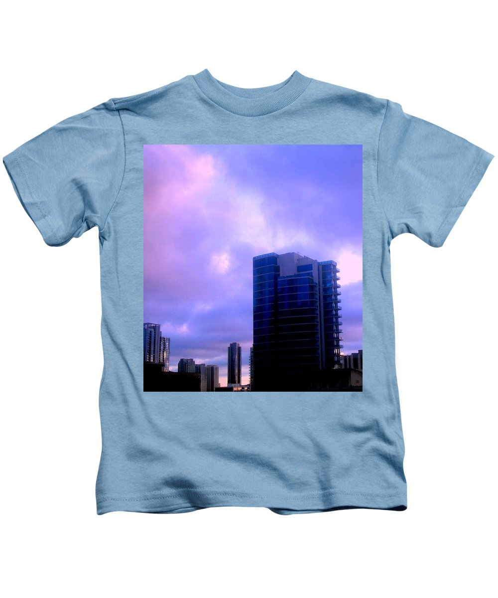 Cumulus Clouds Kids T-Shirt featuring the photograph Cotton Candy Sky by Brenda L Spencer