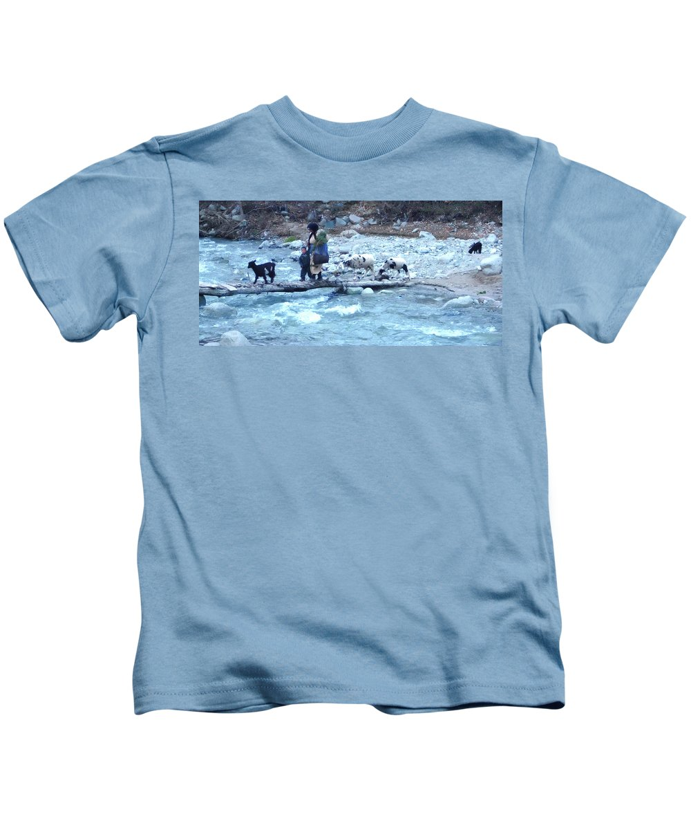 Travel Kids T-Shirt featuring the photograph Crossing The Ourika River by Miki De Goodaboom