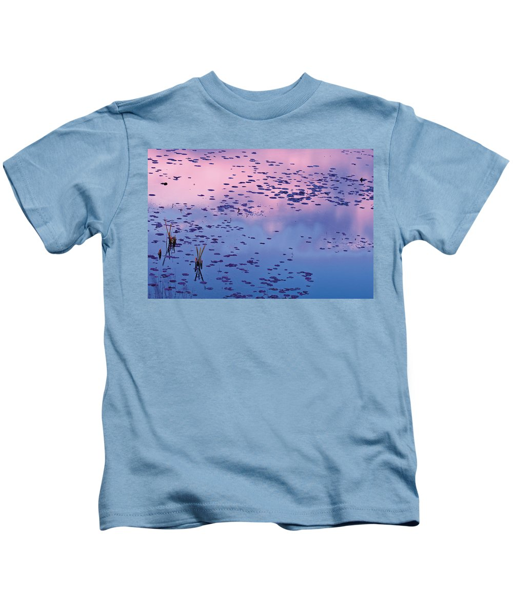 Color Image Kids T-Shirt featuring the photograph Dawn Sky Reflected In Pool by Mike Grandmailson