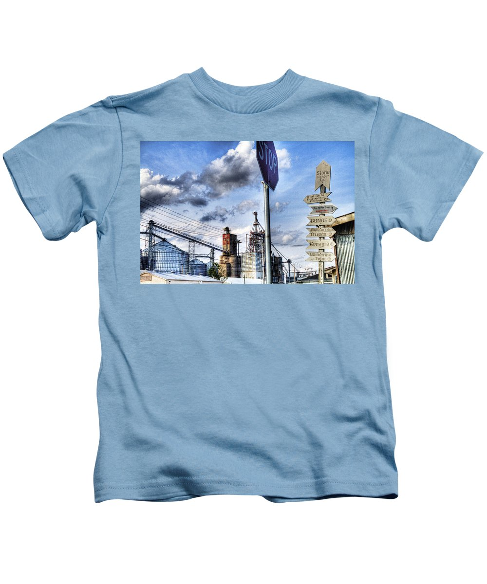 Industrial Kids T-Shirt featuring the photograph Decatur Alabama Industrial District by Kathy Clark