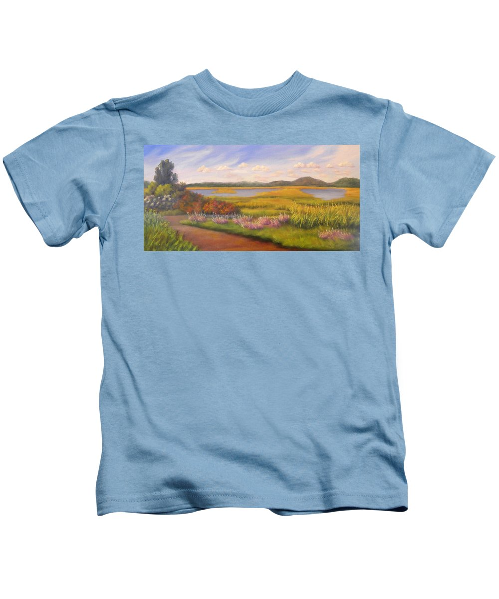 Marsh Kids T-Shirt featuring the painting Early Fall Plum Island by Sharon E Allen