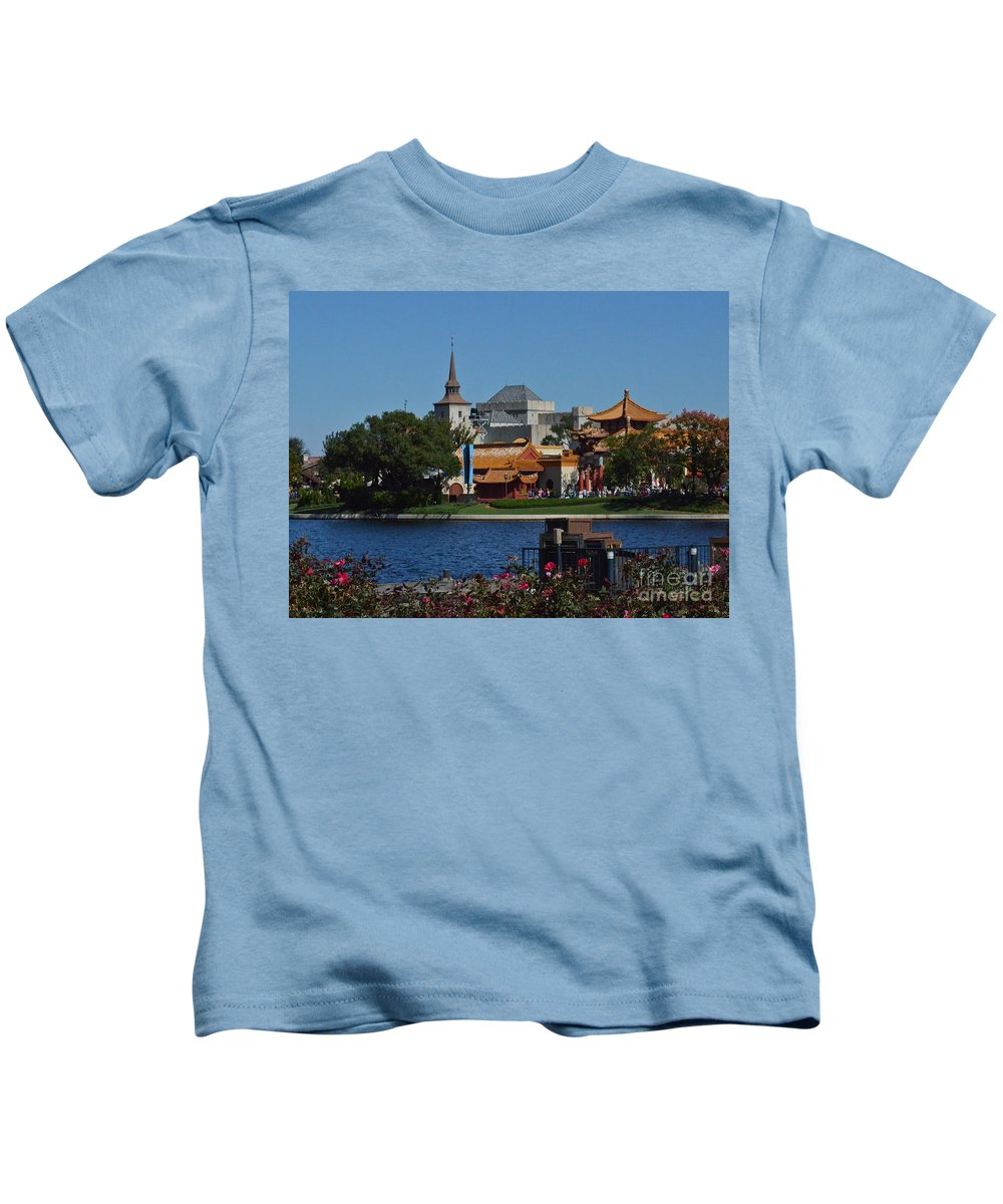 Epcot Kids T-Shirt featuring the photograph Epcot China And Norway by Carol Bradley