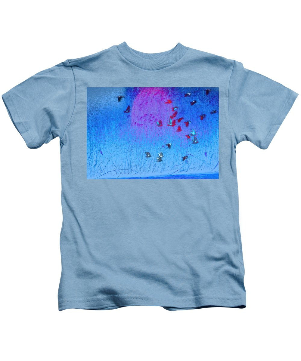 Abstract Kids T-Shirt featuring the photograph Flight Along The River by Lenore Senior