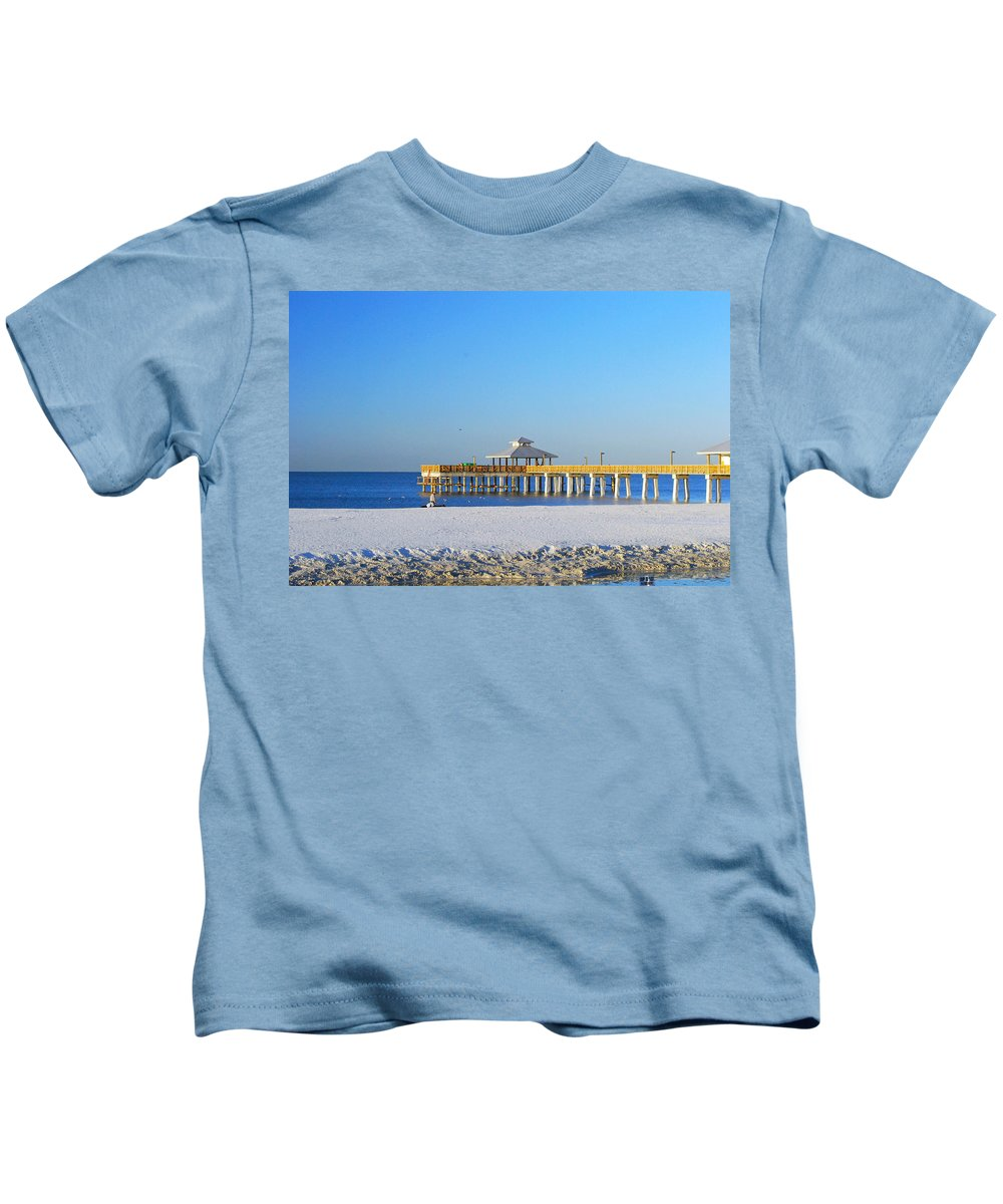 Fort Myers Kids T-Shirt featuring the photograph Fort Myers Beach Pier by Gary Wonning