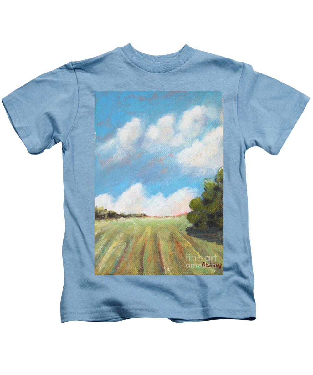 Farmland Kids T-Shirt featuring the painting Freshly Cut Hay Field by Todd Bandy