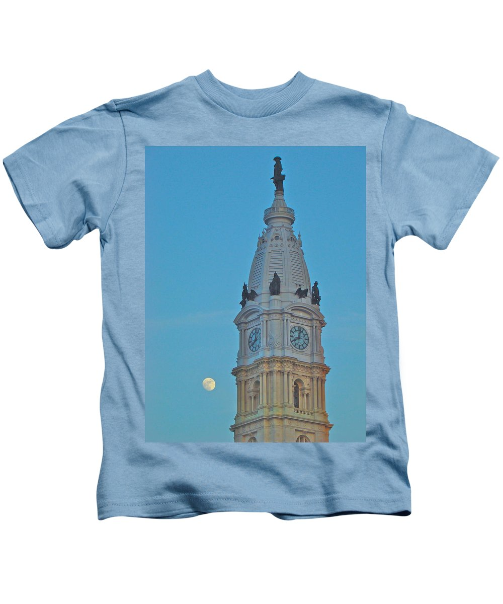 City Hall Philadelphia Nightime Full Moon Kids T-Shirt featuring the photograph Full Moon and Billy Penn by Alice Gipson