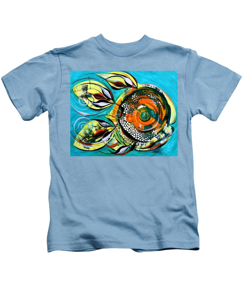 Fish Paintings Kids T-Shirt featuring the painting Gretchen Fish A Citrus Twist by J Vincent Scarpace