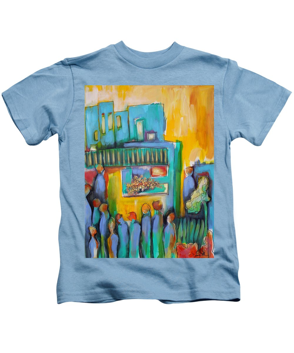 City Kids T-Shirt featuring the painting In Passing by Darcy Lee Saxton