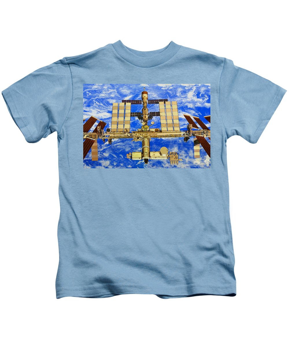 Art Kids T-Shirt featuring the painting International Space Station by David Lee Thompson