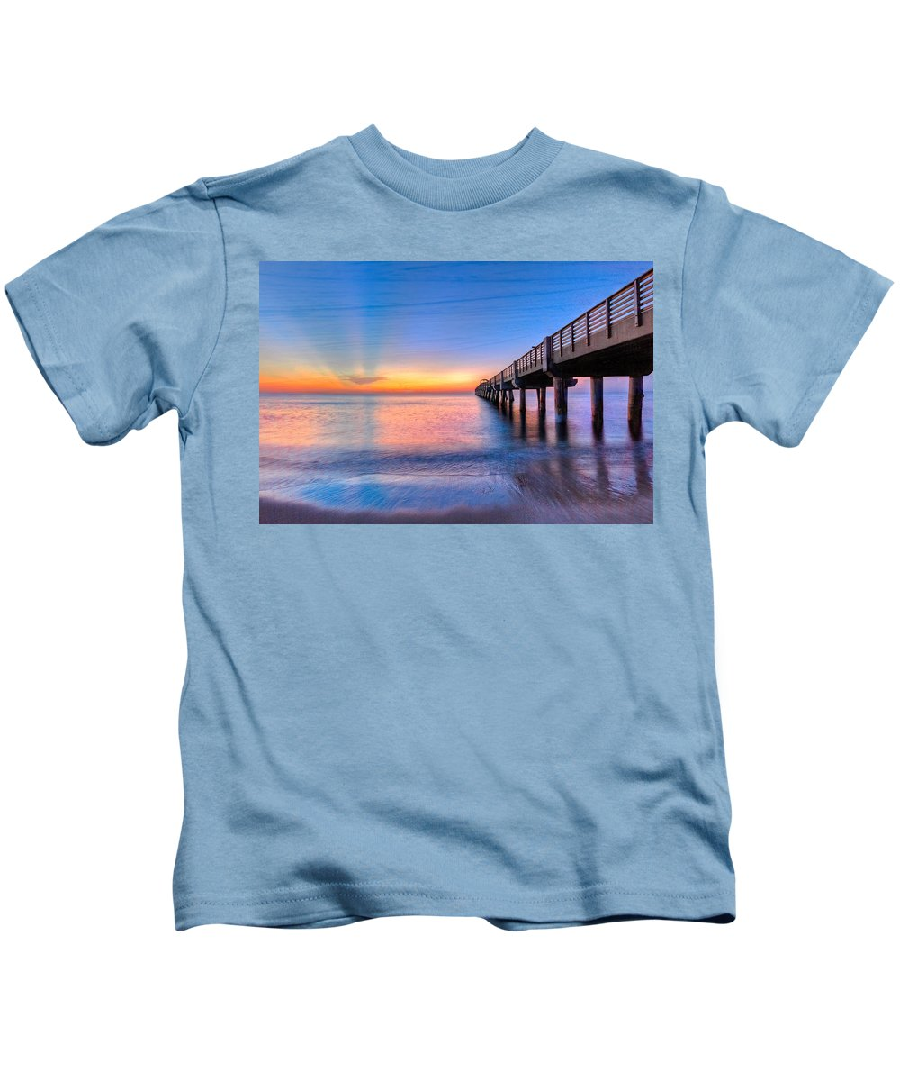 Clouds Kids T-Shirt featuring the photograph Into The Blue by Debra and Dave Vanderlaan