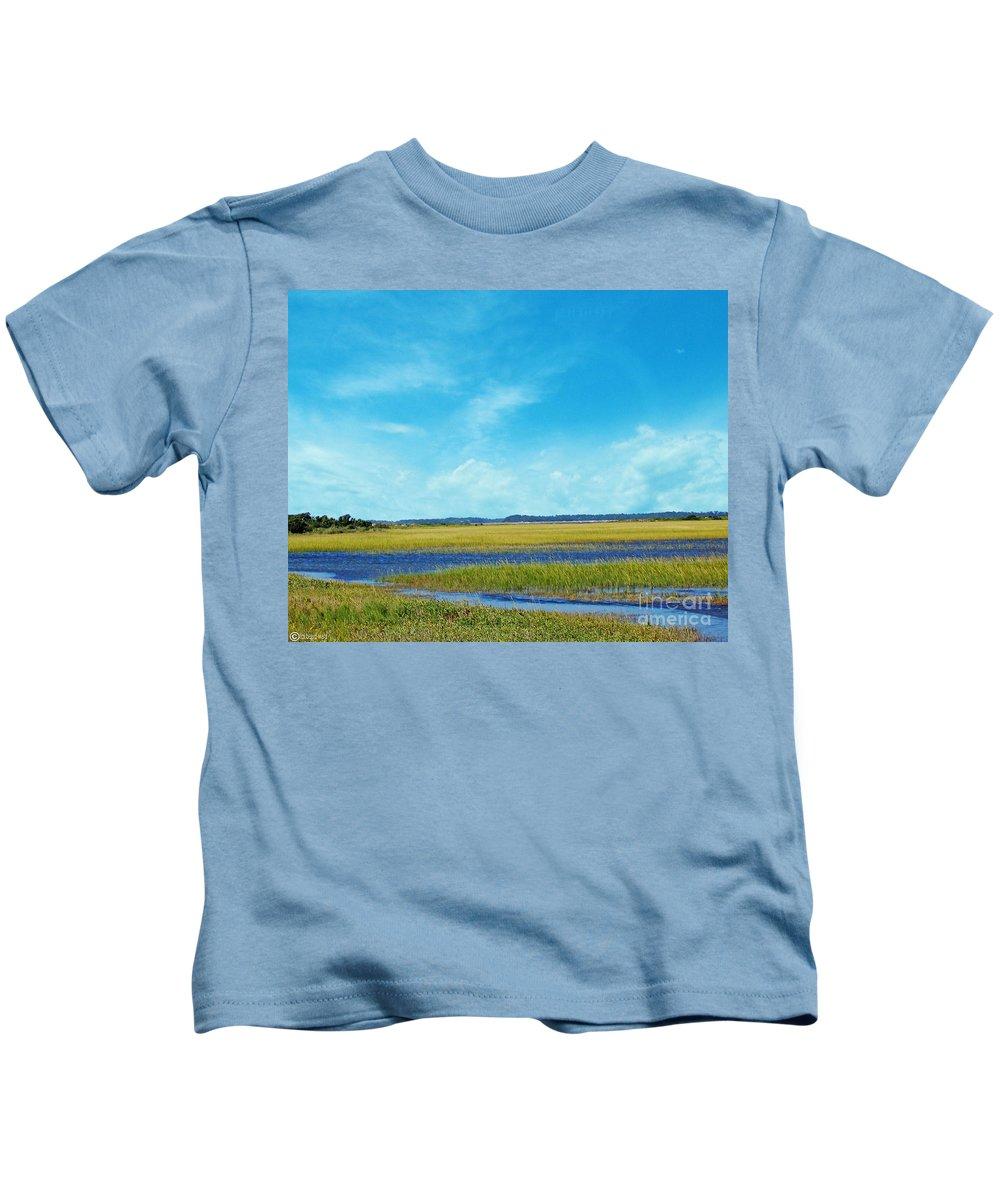South Carolina Kids T-Shirt featuring the digital art Low Country Marsh by Lizi Beard-Ward