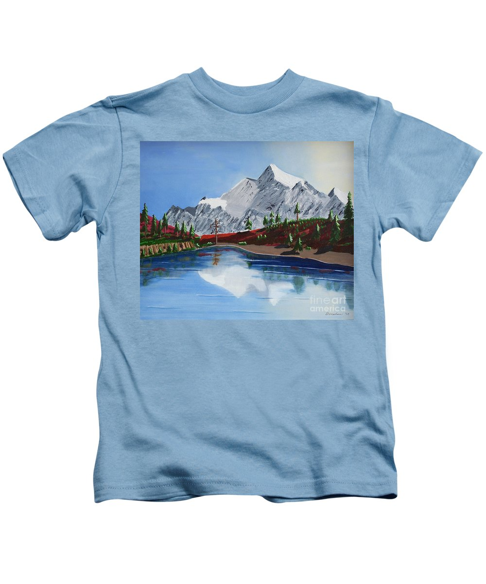Mt Challenger Kids T-Shirt featuring the painting Mt Challenger by Don Monahan