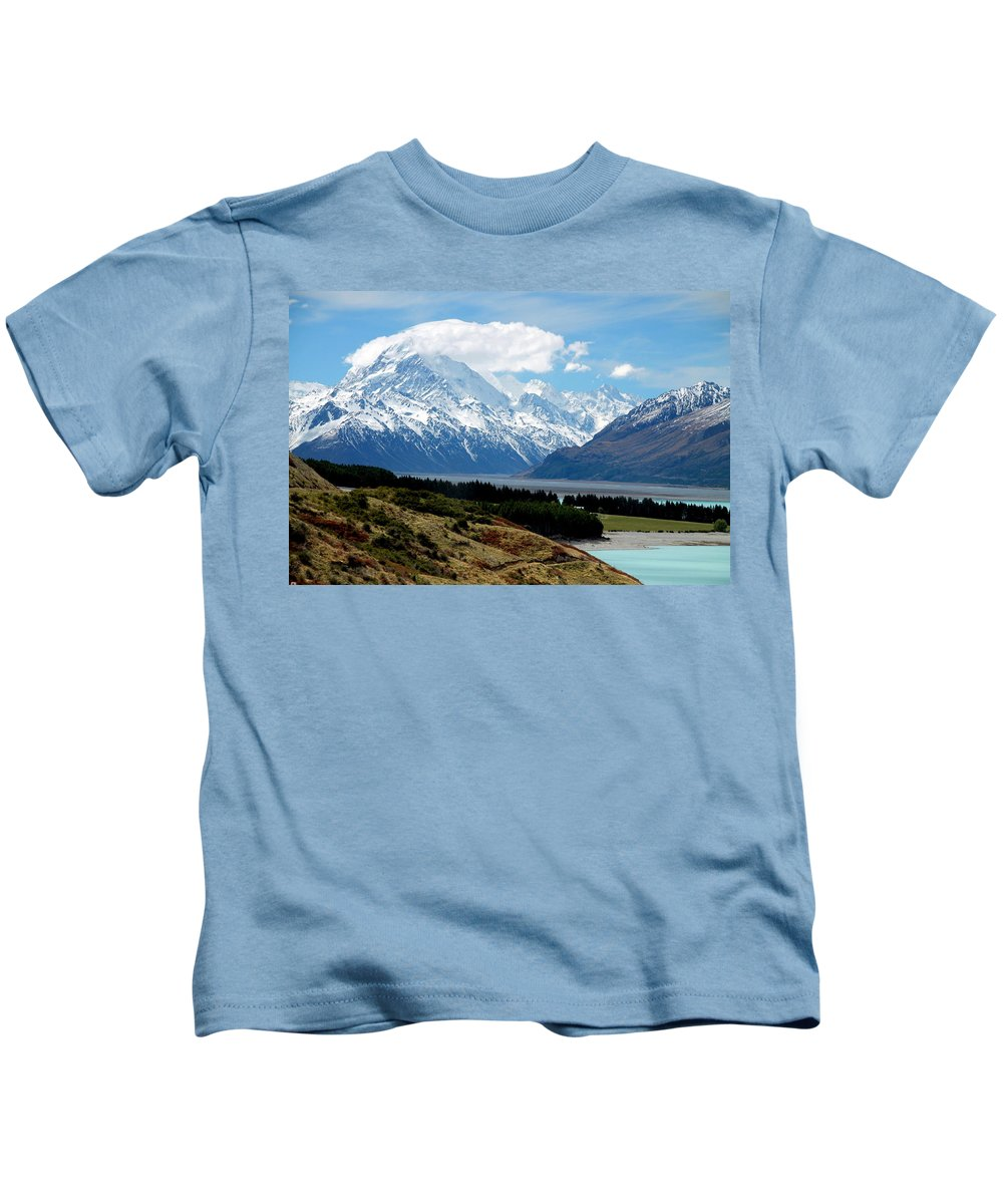 Mt. Cook Kids T-Shirt featuring the photograph Mt Cook Across Lake Pukaki by Laurel Talabere