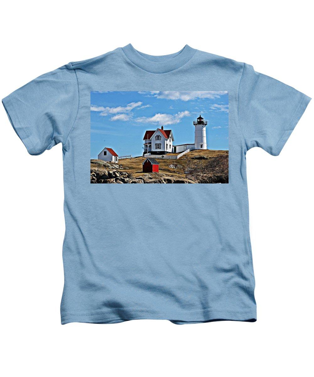 Nubble Light Kids T-Shirt featuring the photograph Nubble Light I by Joe Faherty