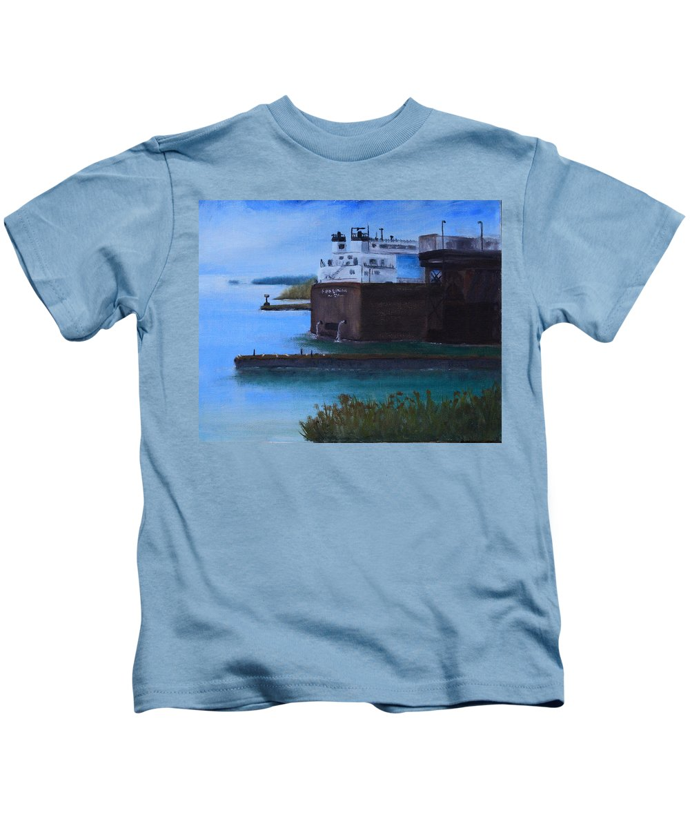 Ore Docks Kids T-Shirt featuring the painting Ore Dock by Joi Electa