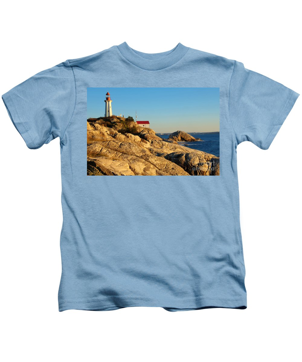 Vancouver Kids T-Shirt featuring the photograph Point Atchison Lighthouse 2 by Bob Christopher