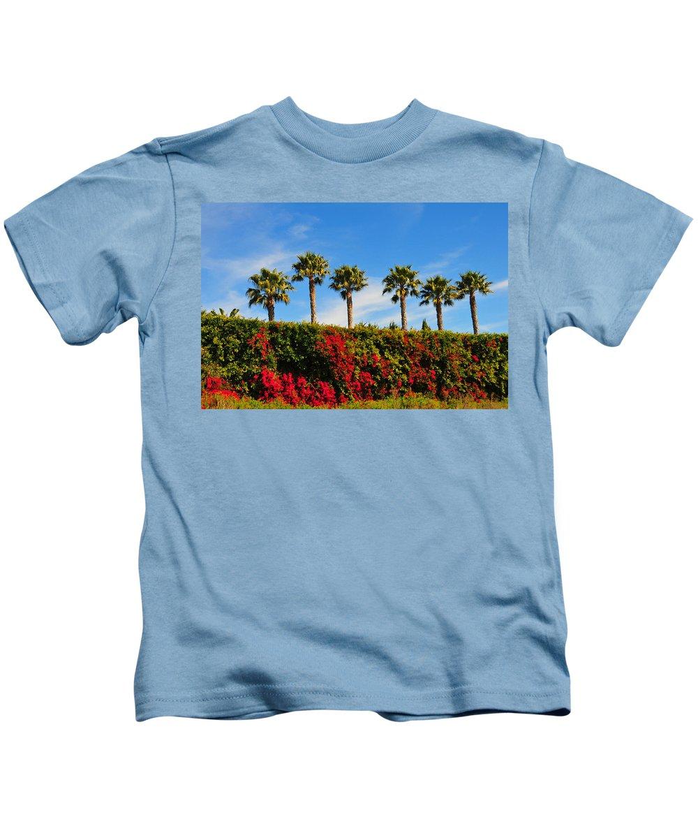 Pt Dume Kids T-Shirt featuring the photograph Pt. Dume Palms by Lynn Bauer