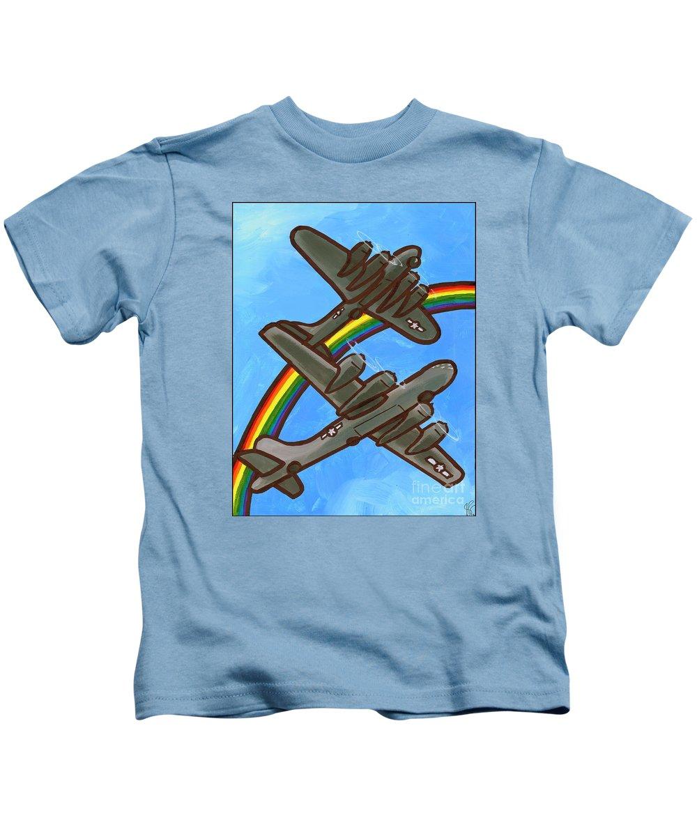 B17 Kids T-Shirt featuring the painting Rainbow Flight by Jim Harris