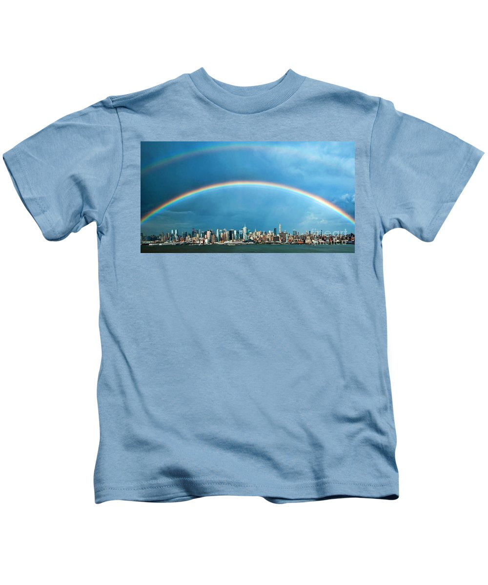 New York Skyline Kids T-Shirt featuring the photograph Rainbows Over Manhattan by Regina Geoghan
