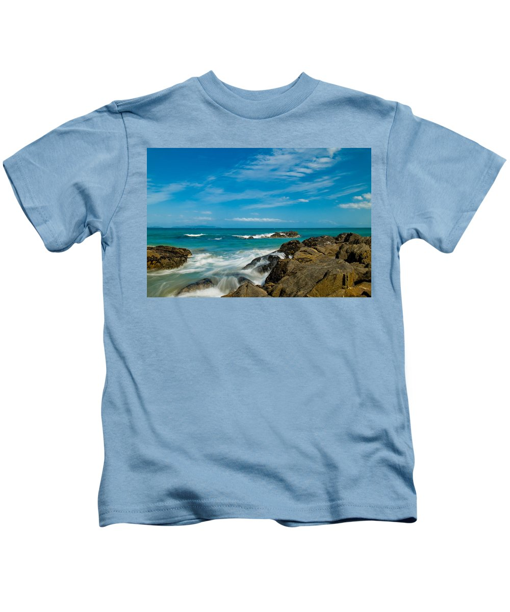Bay Kids T-Shirt featuring the photograph Sea Landscape With Beach Coast Rocks And Blue Sky by U Schade