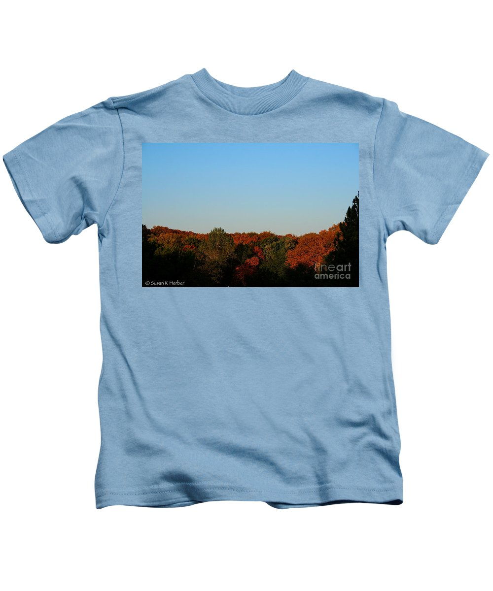 Outdoors Kids T-Shirt featuring the photograph September Morning by Susan Herber