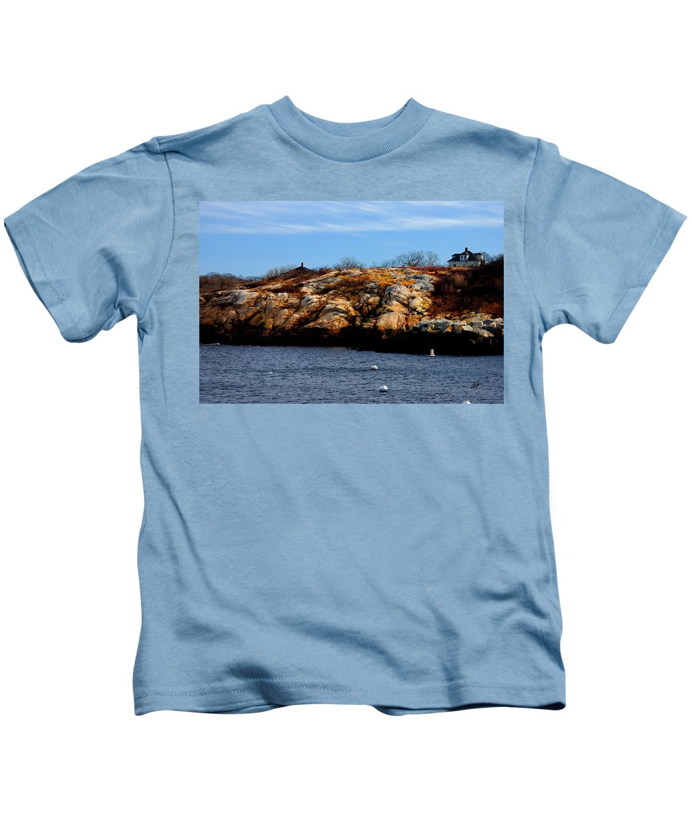 Rockport Kids T-Shirt featuring the photograph Rockport Shore Rocks - Greeting Card by Mark Valentine