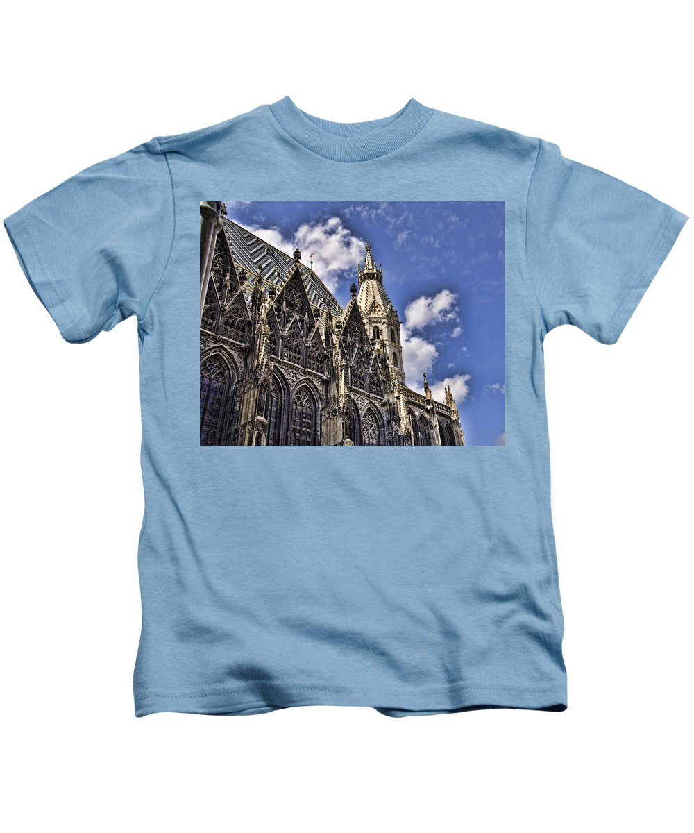 St Stephens Cathedral Vienna Kids T-Shirt featuring the photograph St Stephens Cathedral - Vienna by Jon Berghoff