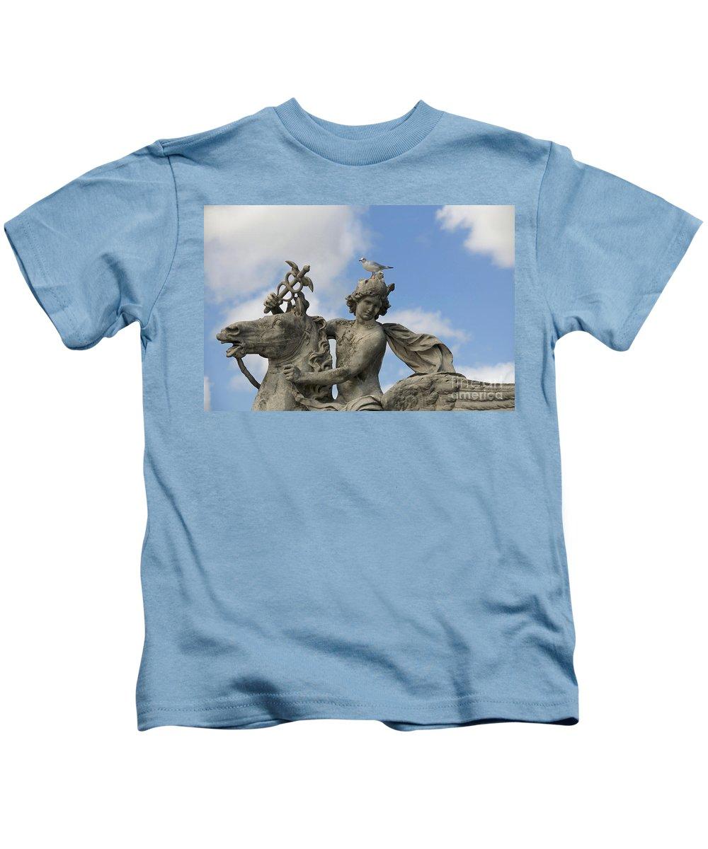 Paris Kids T-Shirt featuring the photograph Statue . Place De La Concorde. Paris. France by Bernard Jaubert