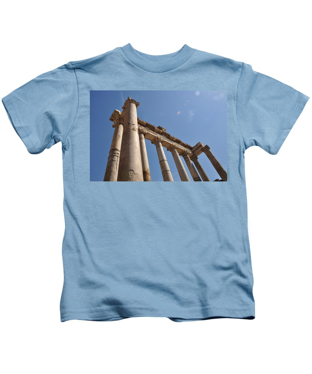 Rome Kids T-Shirt featuring the photograph Temple Of Saturn by Rich Bodane