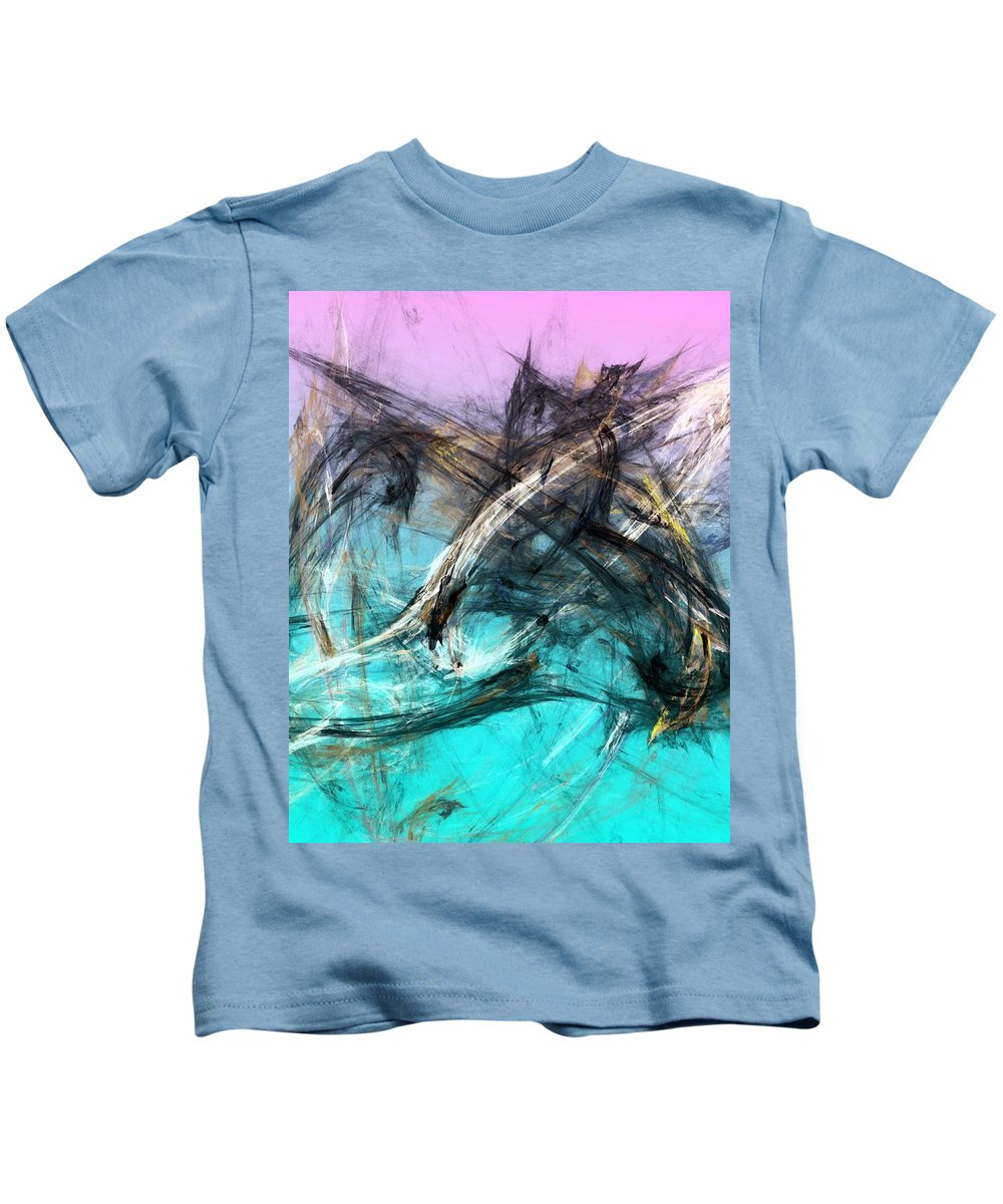 Abstract Kids T-Shirt featuring the digital art The Hunt by David Lane