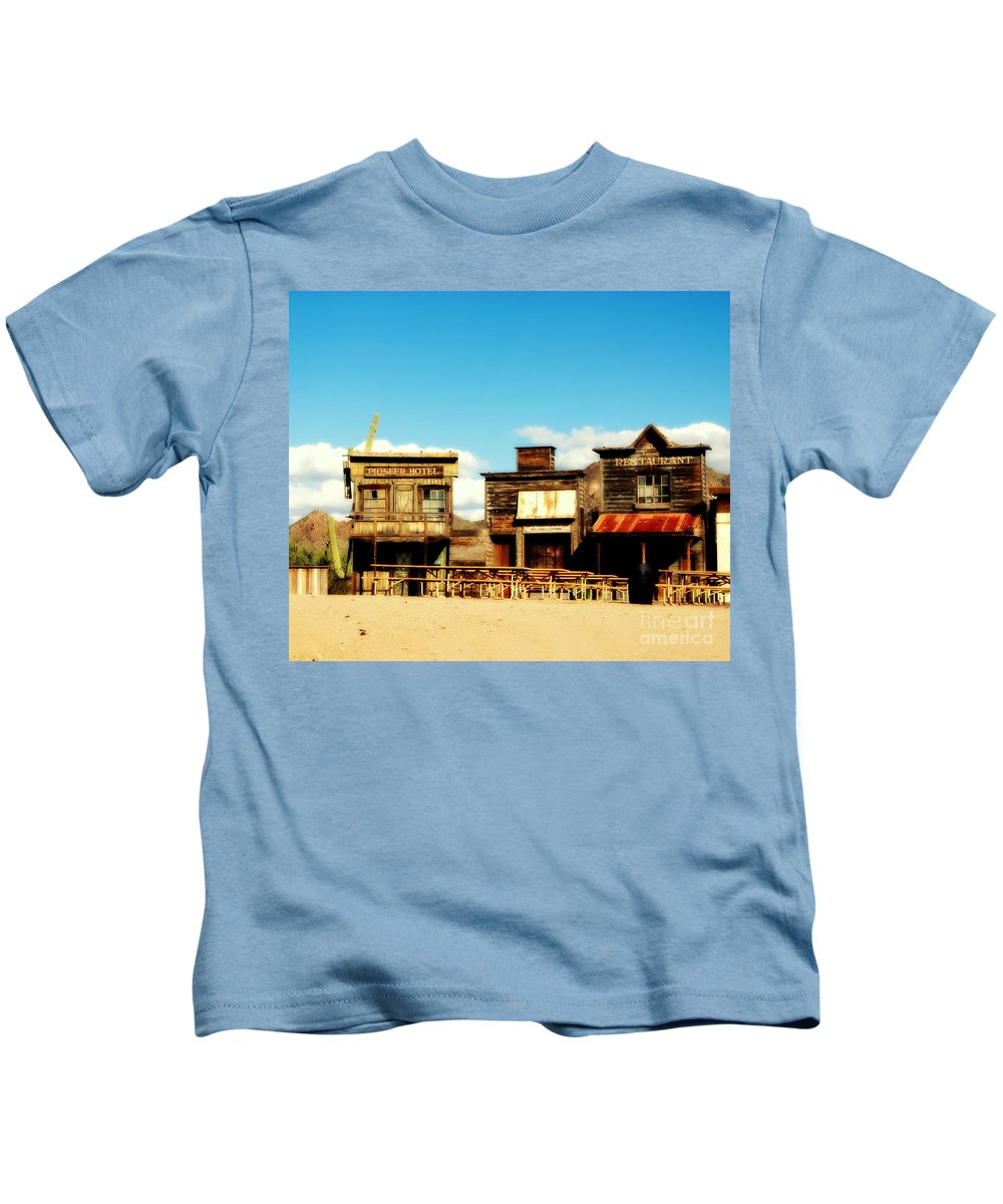 The Pioneer Hotel Kids T-Shirt featuring the photograph The Pioneer Hotel Old Tuscon Arizona by Susanne Van Hulst
