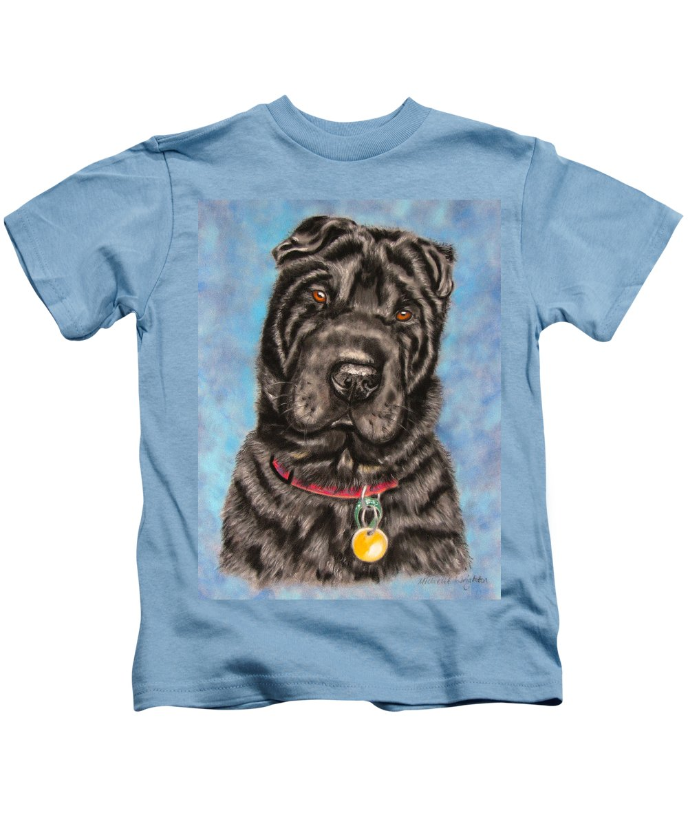 Shar-pei Kids T-Shirt featuring the painting Tia Shar Pei Dog Painting by Michelle Wrighton