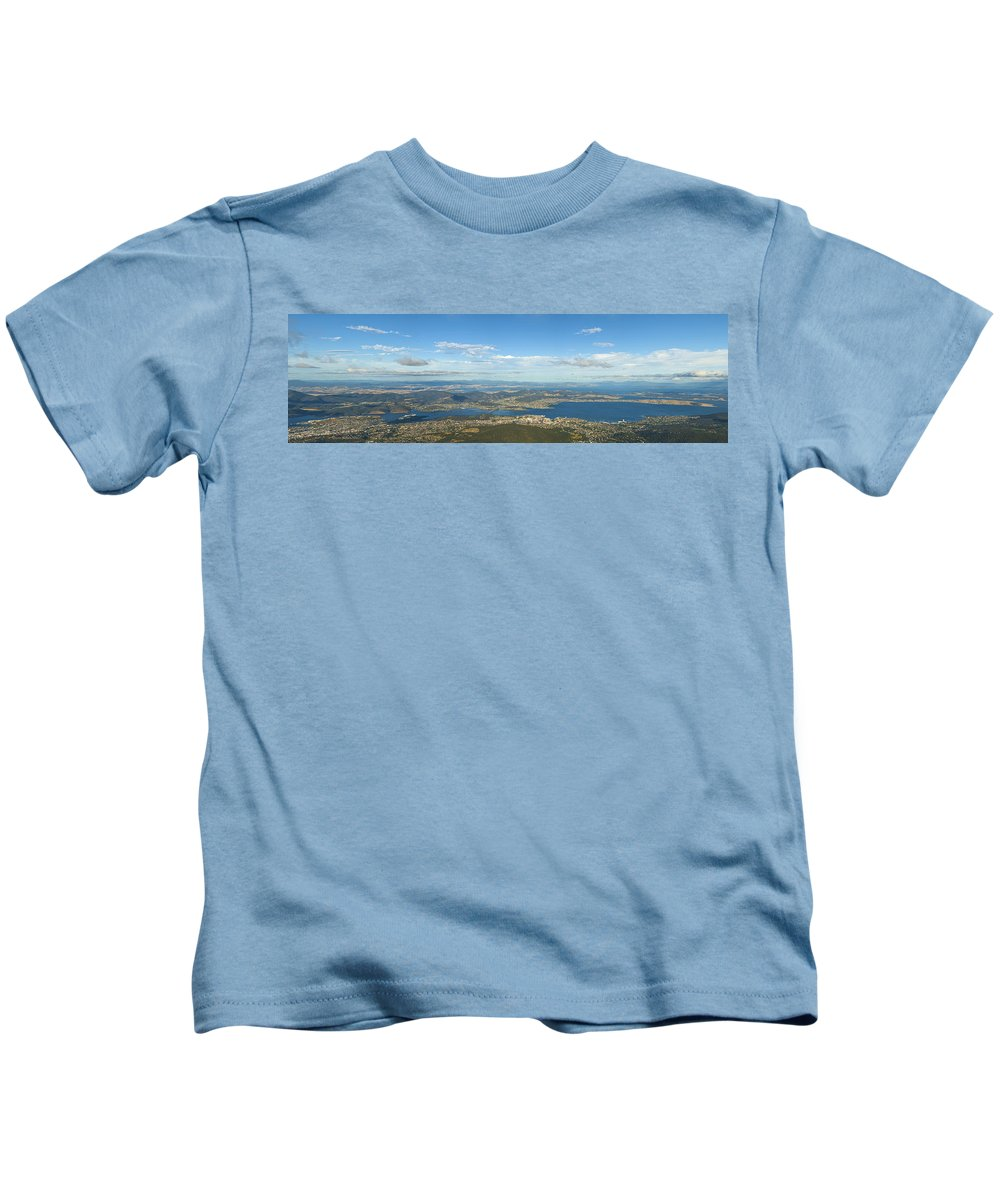 Aerial Kids T-Shirt featuring the photograph Top Of Mount Wellington Tasmania by U Schade