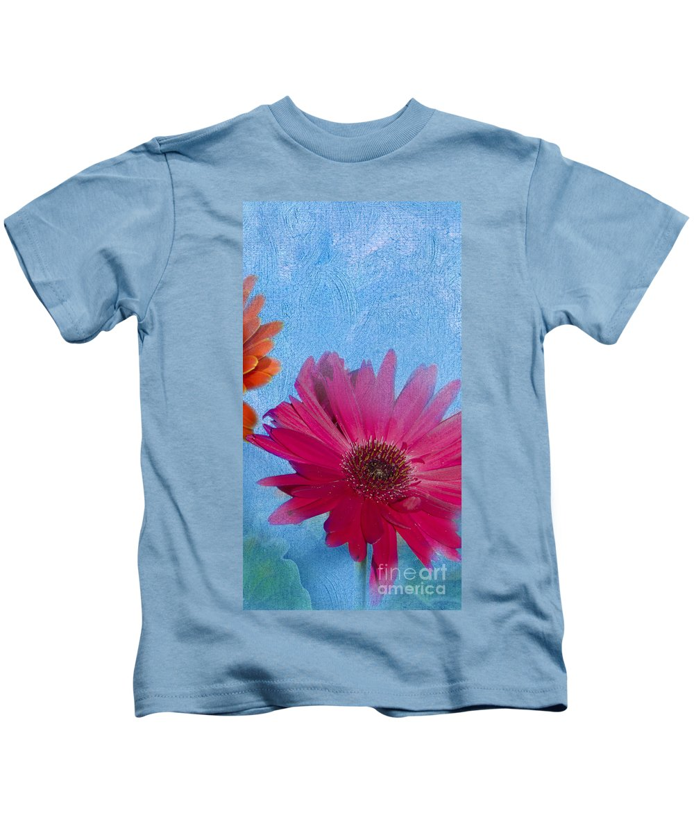 Triptych Kids T-Shirt featuring the photograph Triptych Gerbera Daisies-two by Betty LaRue