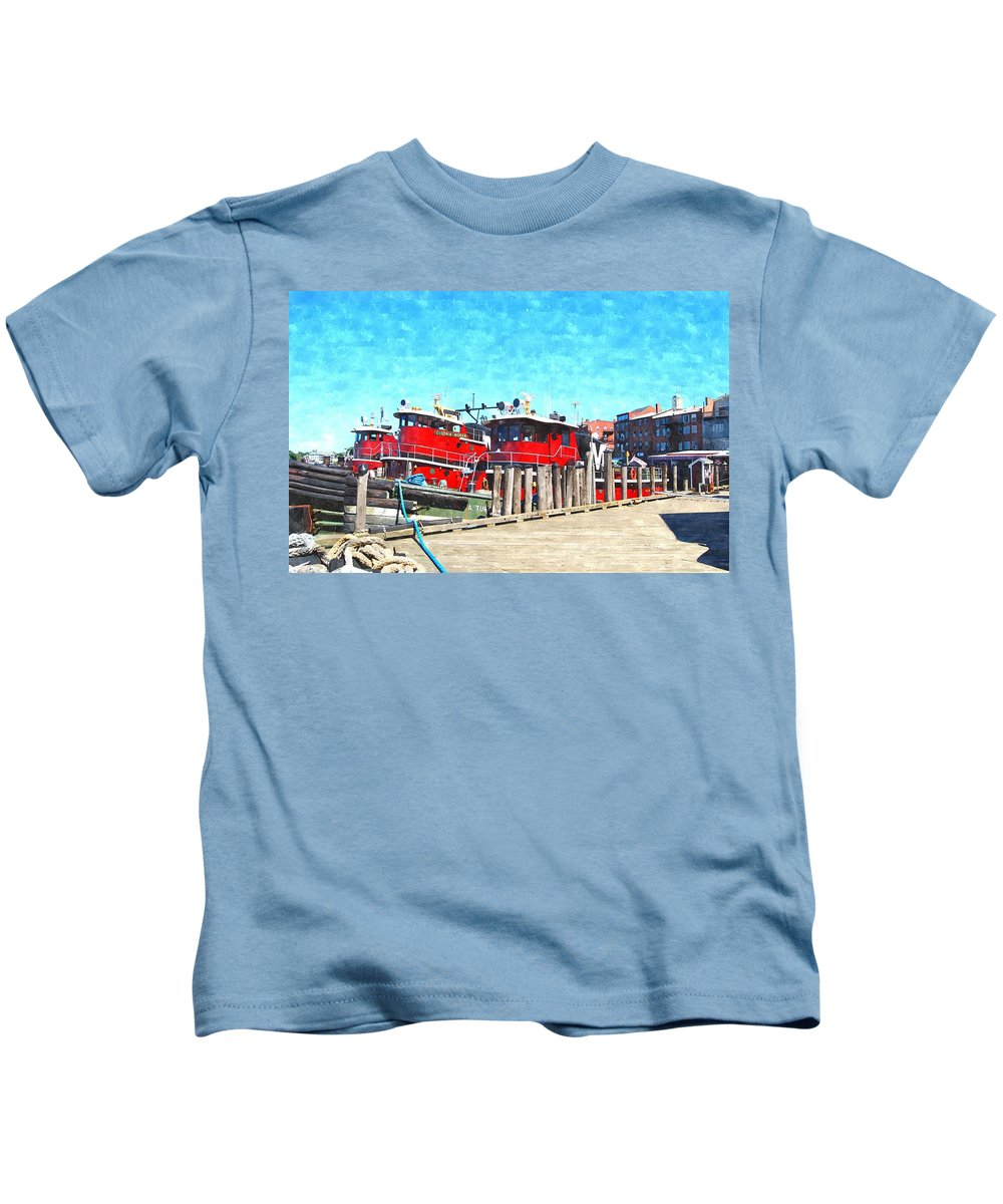 Portsmouth Nh Kids T-Shirt featuring the digital art Tugboat Twc by Jim Brage