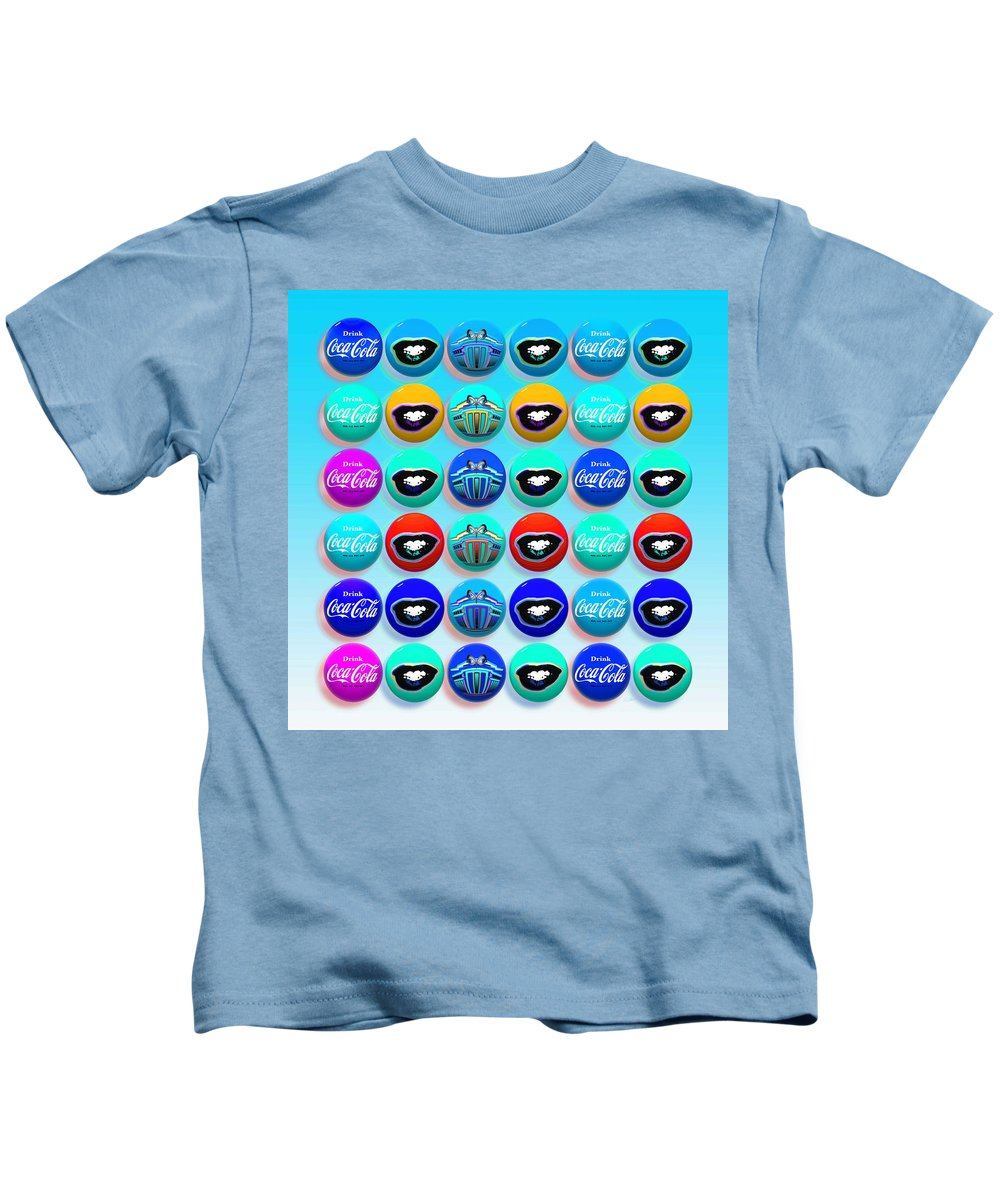 Andy Warhol Kids T-Shirt featuring the digital art Uncle Sams Buttons by Charles Stuart