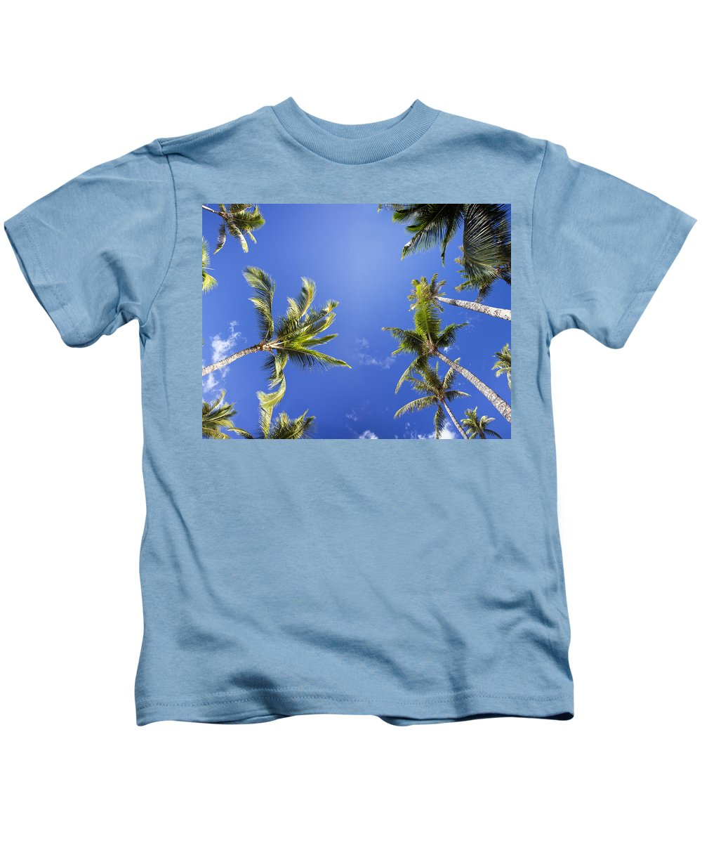 Above Kids T-Shirt featuring the photograph Waving Palm Trees by Dave Fleetham