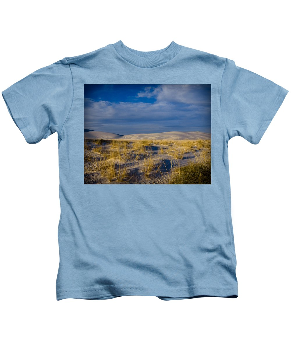 New Mexico Kids T-Shirt featuring the photograph White Sands Golden Grass by Sean Wray