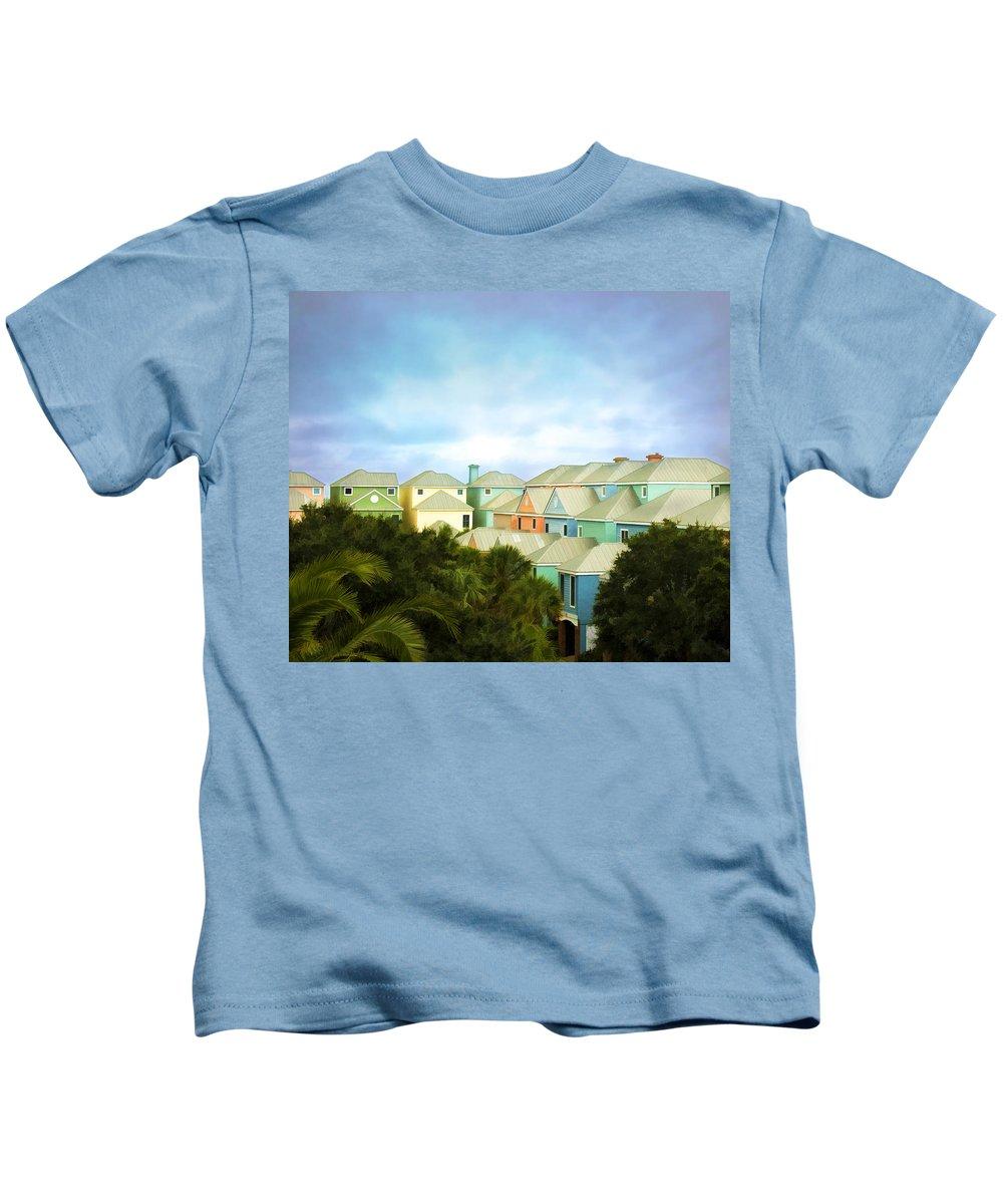 Wild Dunes Kids T-Shirt featuring the painting Wild Dunes Rainbow Row by Steven Richardson
