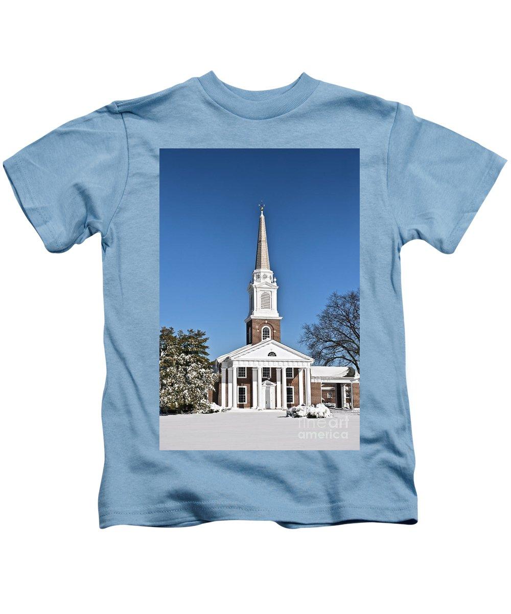 First Presbyterian Church Kids T-Shirt featuring the photograph Winter Church by John Greim